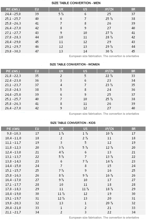 size table convertion